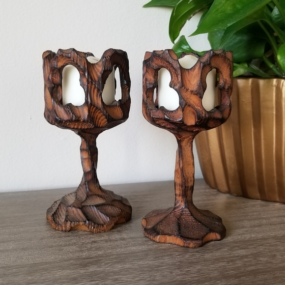 Vintage Other - VTG Carved + Torched Wood Goblet Candle Holders